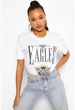 Eagles Printed Washed T-Shirt, White blanc