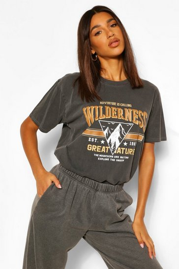Black Wilderness Printed Washed T-Shirt