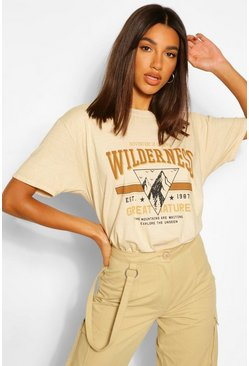 Sand beige Wilderness Printed Washed T-Shirt