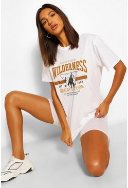 Wilderness Printed Washed T-Shirt, White blanco