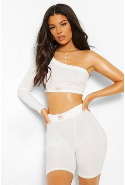 Cream white Chunky Binding One Sleeve Ribbed Crop Top