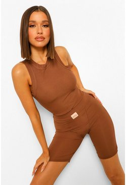 Chocolate brown Chunky Binding Ribbed Long Racer Tank Top