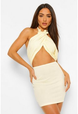 Champagne beige Cross Over Strappy Mini Dress