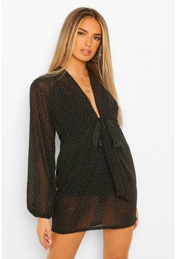 Black Pin Spot Draped Plunge Mini Dress