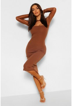 Chocolate brown Mesh Contrast Cut Out Midi Dress