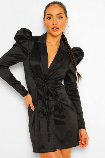 Black Taffeta Puff Sleeve Tie Front Blazer Dress