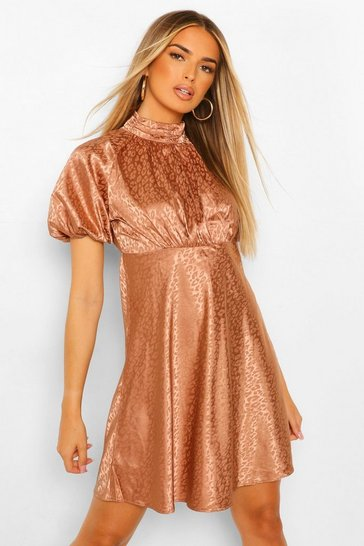 Rose pink Satin Leopard Jacquard Puff Sleeve Skater Dress