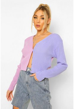 Lilac purple Colour Block Rib Knit Crop Cardigan