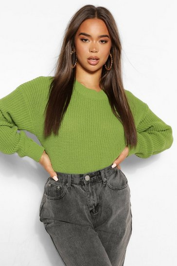 Apple green green Green Crew Neck Crop Jumper