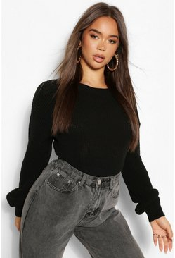 Black Crew Neck Crop Jumper