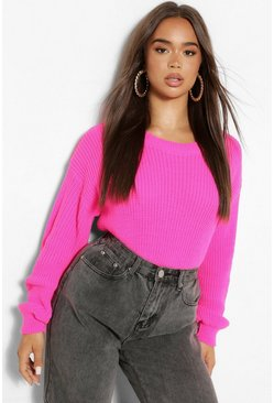 Pink Crew Neck Crop Sweater