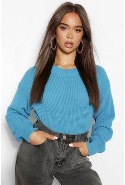 Turquoise blue Pink Crew Neck Crop Sweater