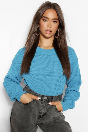 Turquoise blue Blue Crew Neck Crop Jumper
