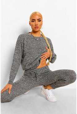 Black Marl Knitted Tracksuit