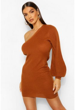Amber orange 1 Shoulder Knitted Dress