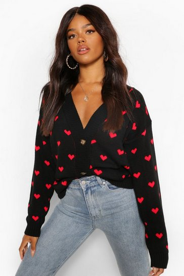 Black Heart Print Crop Cardigan