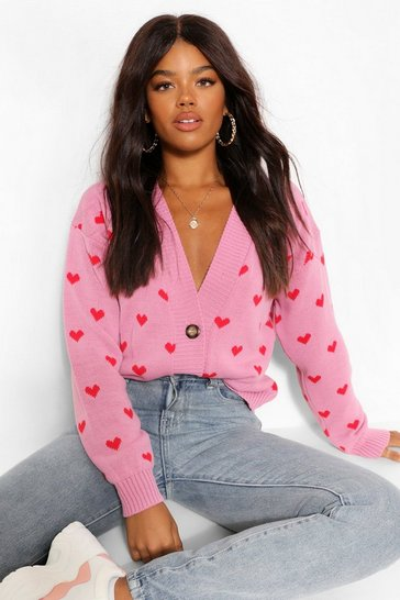 Pink Heart Print Crop Cardigan