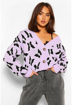 Lilac purple Butterfly Print Crop Cardigan
