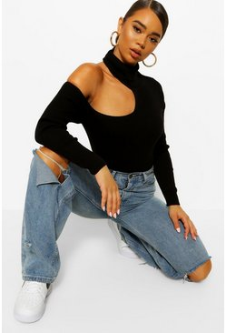 Black Cold Shoulder Roll Neck Jumper