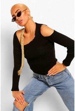 Black Asymmetric Cut Out Shoulder Rib Jumper