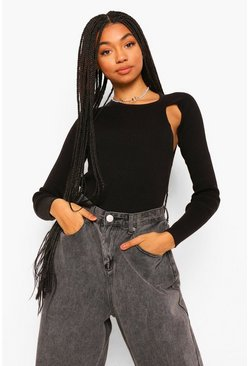 Black Cut Out Shoulder Rib Knit Jumper