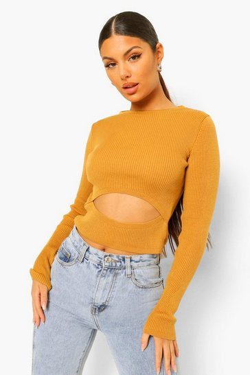 Rust orange Cut Out Waist Rib Knit Jumper