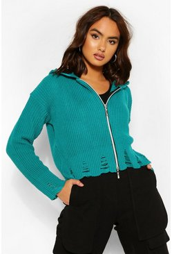 Jade blue Fray Hem Knitted Zip Hoody