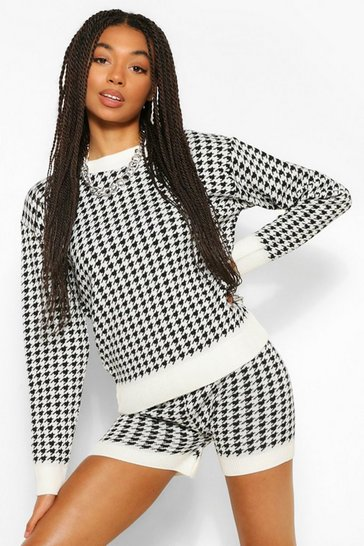 Cream white Houndstooth Check Jumper And Short Co-ord