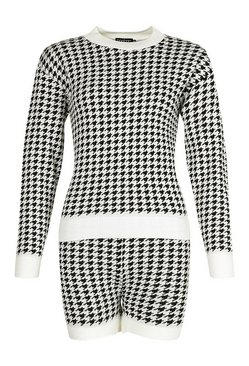 Cream Houndstooth Check Jumper And Short Co-ord