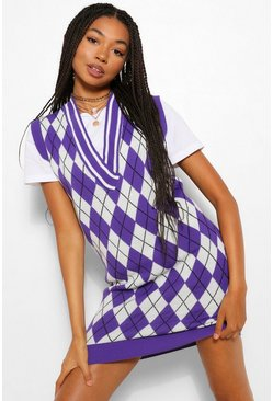 Purple Golf Check Knitted Tank Dress