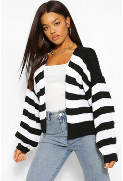 Black Striped Balloon Sleeve Cardigan