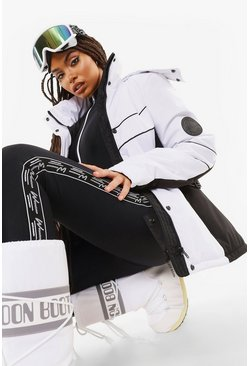 White Luxe Colourblock Ski Jacket