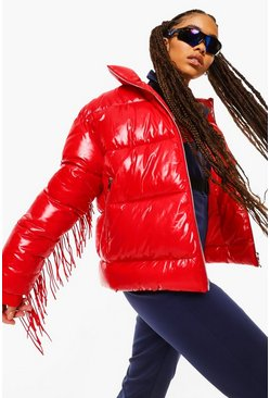 Red Fringe Detail Apres Ski Jacket