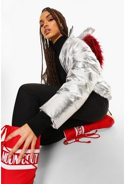 Silver Metallic Faux Fur Collar Apres Ski Jacket