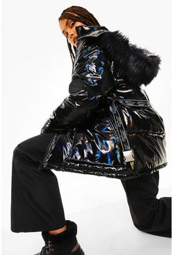 Black Holographic Belted Faux Fur Trim Apres Ski Jacket