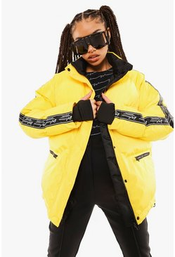 Yellow Lux Tape Detail Ski Jacket