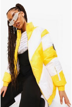 Yellow Luxe Panelled Ski Jacket