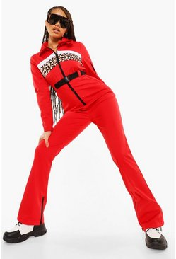 Red Luxe Leopard Panel Snowsuit