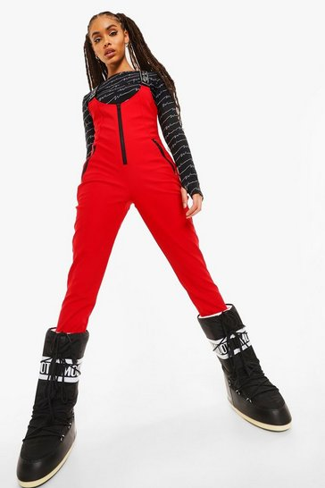 Red Luxe Woman Branded Ski Jumpsuit