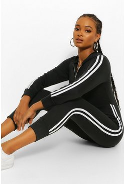 Black Hooded Zip Through Sports Stripe Sweat Jumpsuit