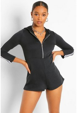 Black Hooded Zip Through Sports Stripe Sweat Playsuit