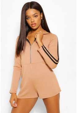 Caramel beige Hooded Zip Through Sports Stripe Sweat Playsuit