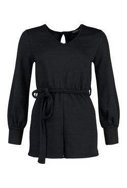 Black Volume Sleeve Belted Loopback Sweat Playsuit