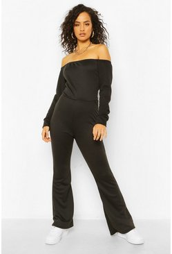 Black Off The Shoulder Flared Leg Sweat Jumpsuit