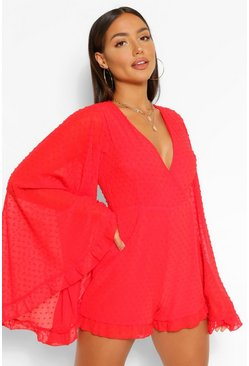 Red Dobby Mesh Flared Sleeve Ruffle Playsuit