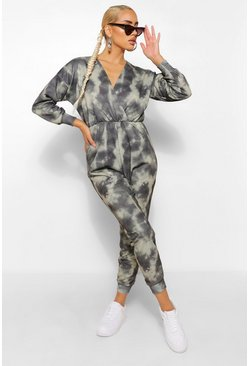 Khaki Tie Dye Wrap Front Loopback Sweat Jumpsuit