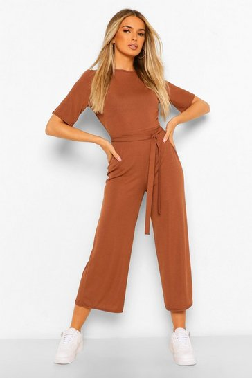 Chocolate brown Ribbed T-Shirt Style Belted Wide Leg Jumpsuit