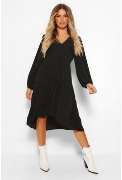 Black Balloon Sleeve Button Through Midi Dress