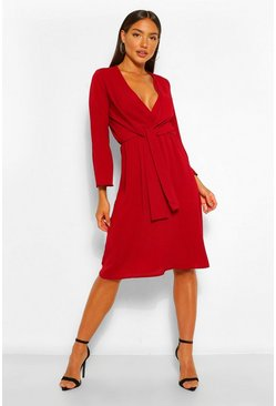 Berry red Woven Knot Front Wrap Midi Dress