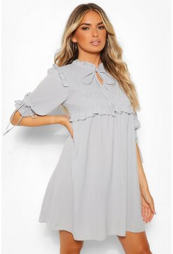 Grey Woven Long Sleeve Shirred Smock Dress